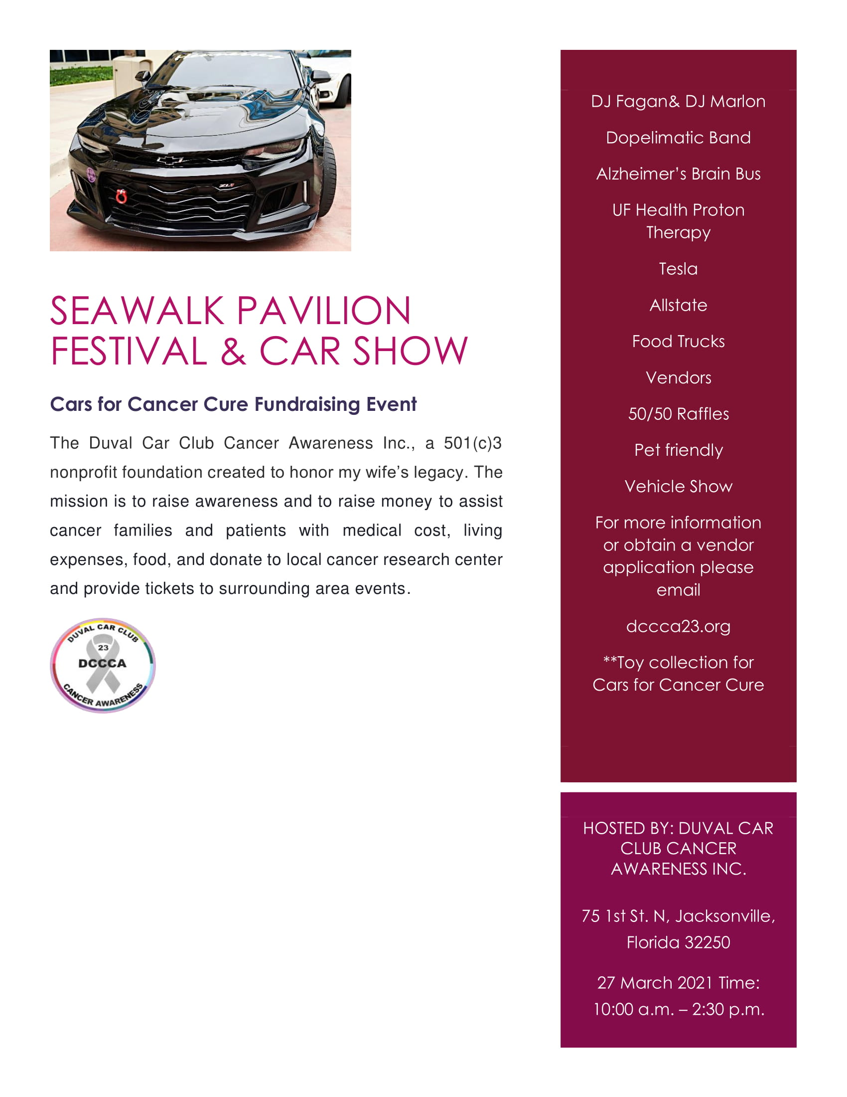 Seawalk Pavilion Festival and Car Show Update March 2021