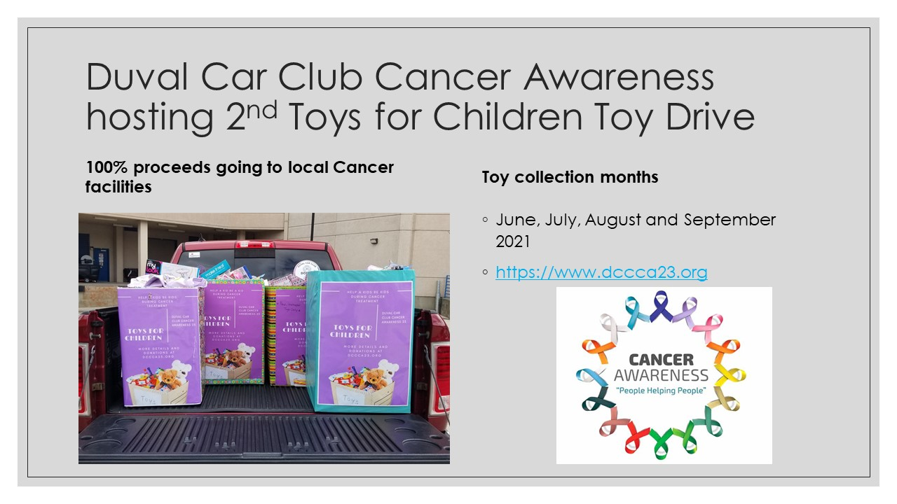 Duval Car Club Cancer Awareness 2nd Children Toy Drive